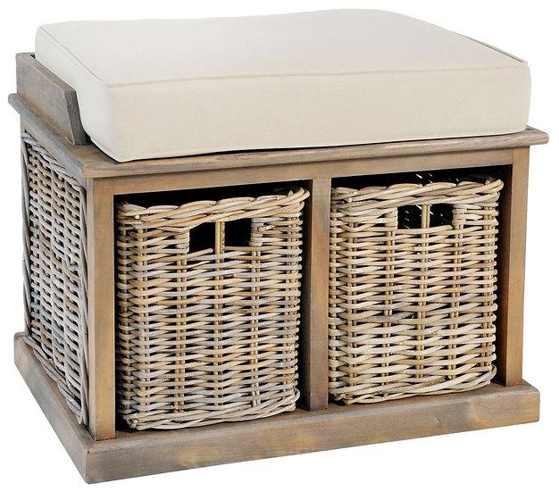 Maze Rattan Grey Twin Basket Bench