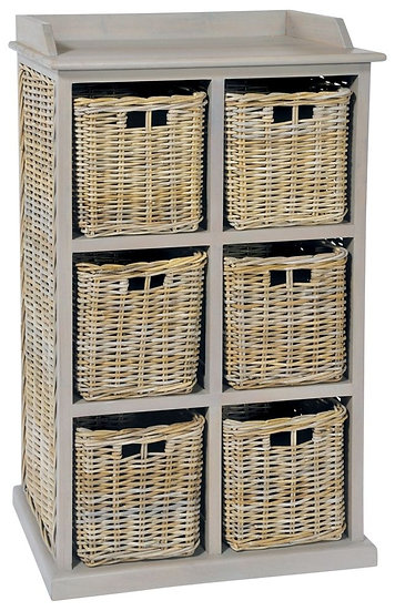 Maze Rattan Vintage Grey 6 Basket Unit
