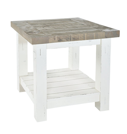 Kent White Painted Distressed Reclaimed Wood Lamp Table