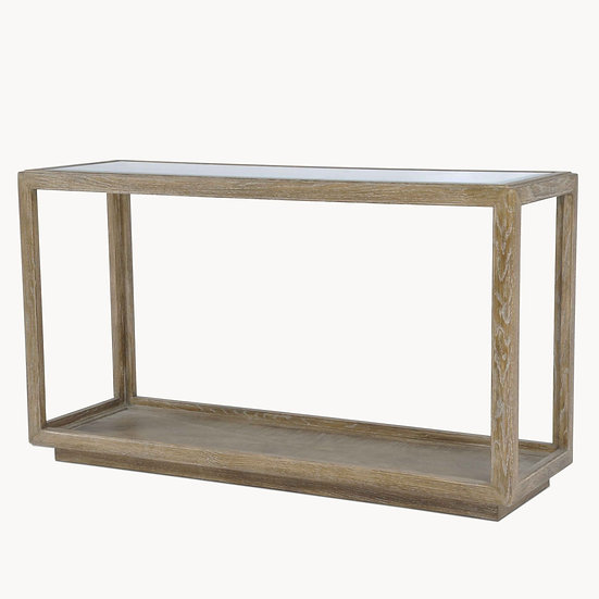 WOODCROFT OAK AND GLASS CONSOLE TABLE
