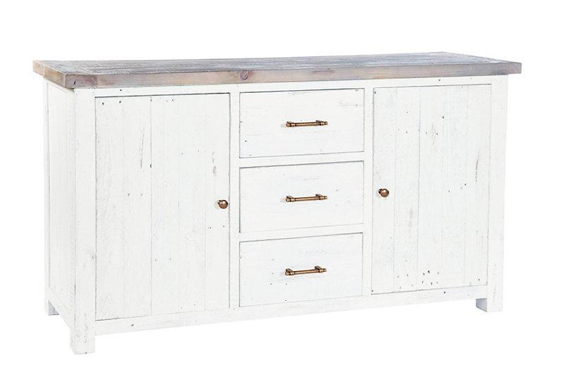 Kent White Painted Distressed Reclaimed Wood 2 Door 3 Drawer Wide Sideboard