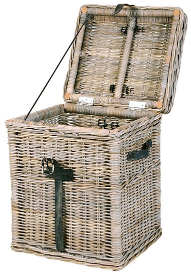 Maze Rattan Grey Tall Linen Trunk with Leather Handles