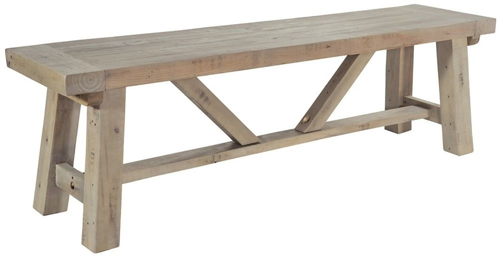 Ashley Rustic Reclaimed Wood Small Dining Bench