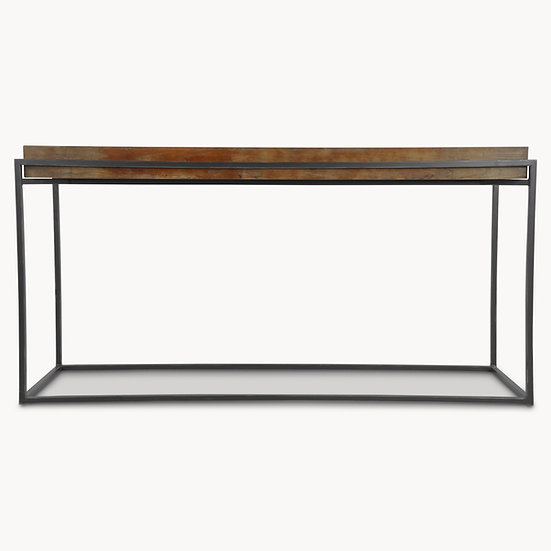 WOODCROFT FLOATING ELM AND IRON CONSOLE TABLE