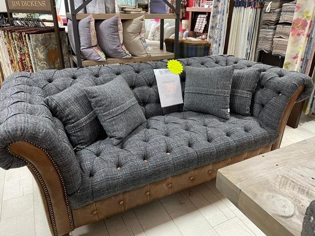 Chesterfield Harris Tweed Vintage Leather Sofa