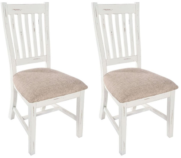 Kent White Painted Distressed Reclaimed Wood Slatted Back Dining Chair (Pair)
