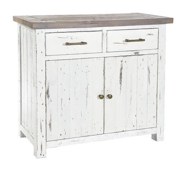Kent White Painted Distressed Reclaimed Wood 2 Door 2 Drawer Narrow Sideboard