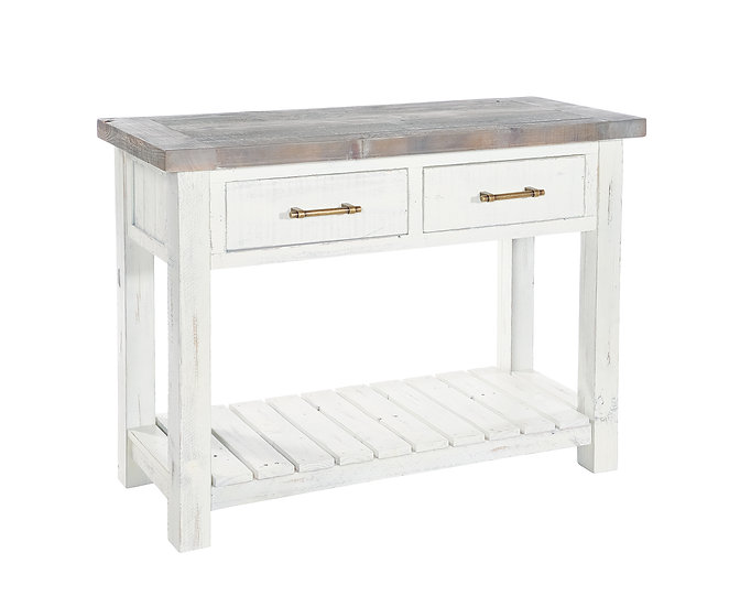 Kent White Painted Distressed Reclaimed Wood 2 Drawer Console Table