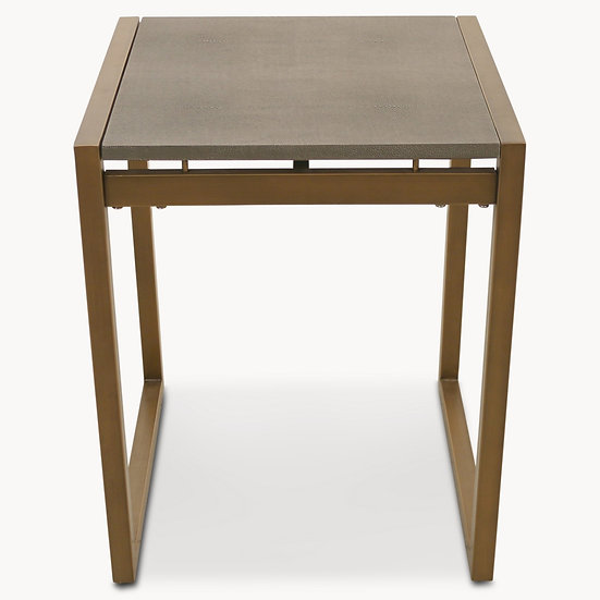 SEYMOUR SHAGREEN SIDE TABLE IN ANTIQUE BRASS FINISH