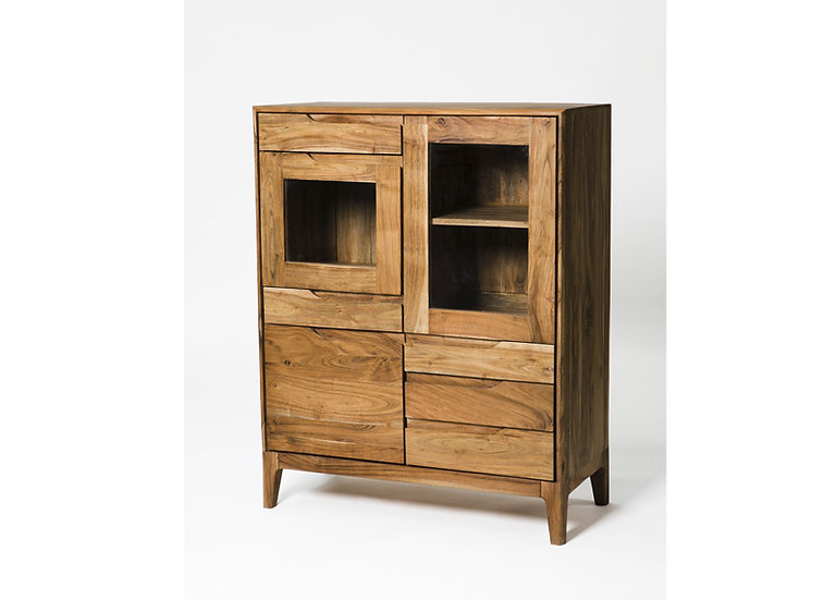 Byron Acacia Wood 3 Door 5 Drawer Display Unit