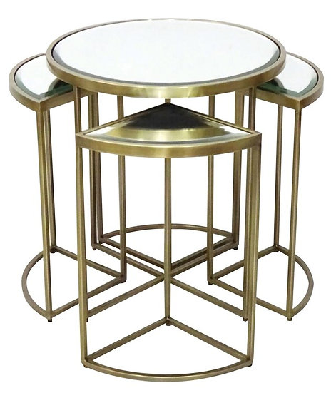 SALAMANCA FIVE PIECE NESTING TABLE ANTIQUE BRASS
