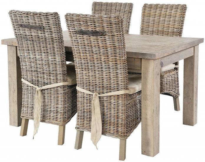 Ashley Rustic Reclaimed Wood 140cm-190cm Rectangular Ext. Dining Set x4 Chairs