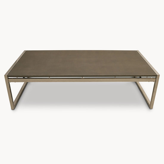 SEYMOUR STAINLESS STEEL AND SHAGREEN COFFEE TABLE