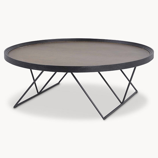 WOODCROFT BRASS TOP OAK AND IRON COFFEE TABLE