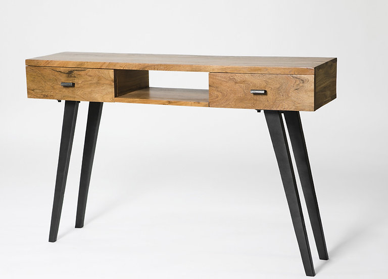 INDUSTRIAL LUXE 2 DRAWER CONSOLE TABLE