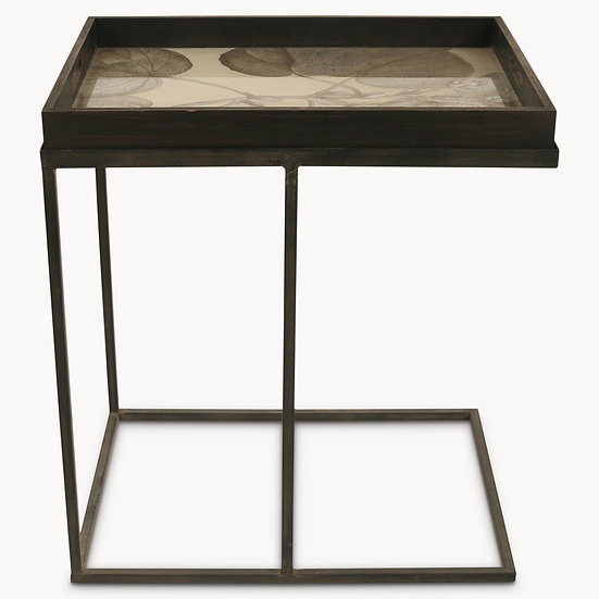 BROOKBY ANTIQUED MIRROR RECTANGULAR SIDE TABLE