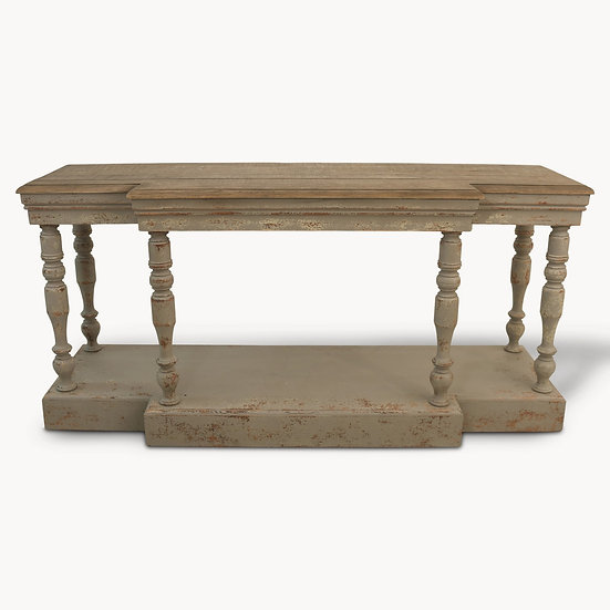 WOODCROFT OAK TOP AND COLONIAL GREY CONSOLE TABLE