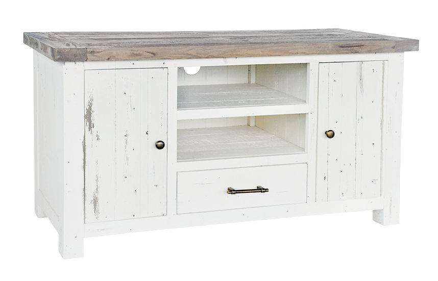 Kent White Painted Distressed Reclaimed Wood 2 Door 1 Drawer TV Unit