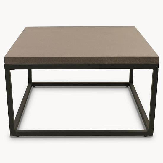MALVERN LAVA STONE AND IRON SQUARE COFFEE TABLE