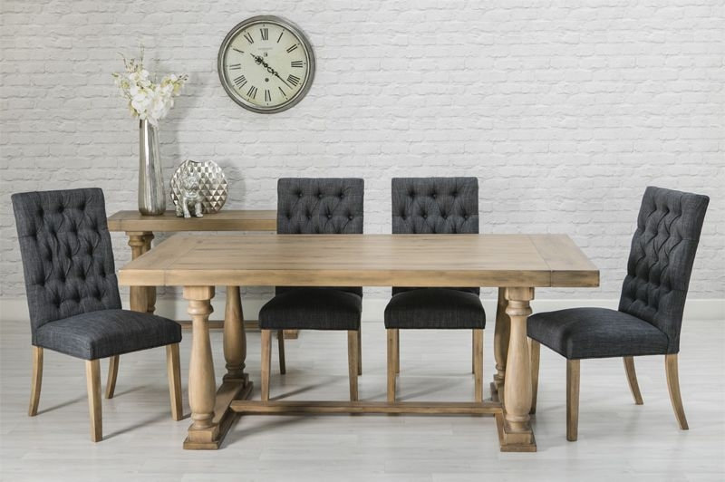 ROYALE OAK DINING SET WITH 6 GREY CHAIRS
