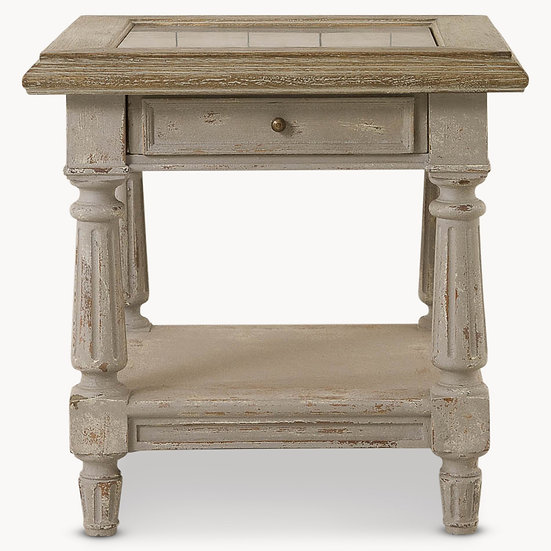 WOODCROFT COLONIAL GREY OAK AND STONE TOP SIDE TABLE