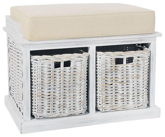 Maze Rattan White Twin Basket Bench