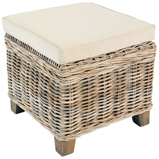 Maze Rattan Grey Square Storage Stool