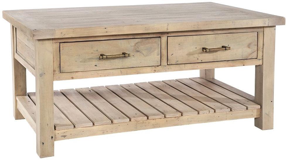 Ashley Rustic Reclaimed Wood 2 Drawer Storage Coffee Table