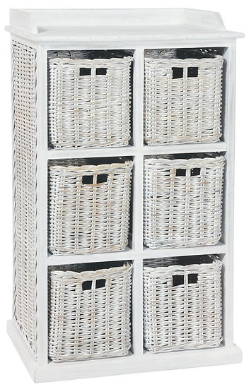 Maze Rattan White 6 Basket Unit