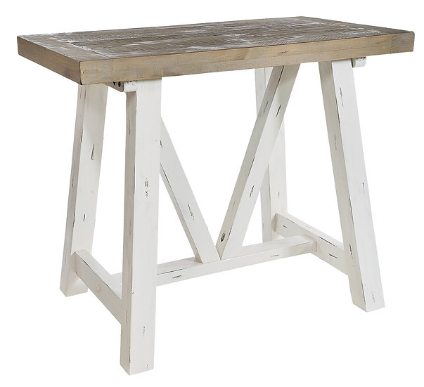 Kent White Painted Distressed Reclaimed Wood Bar Table