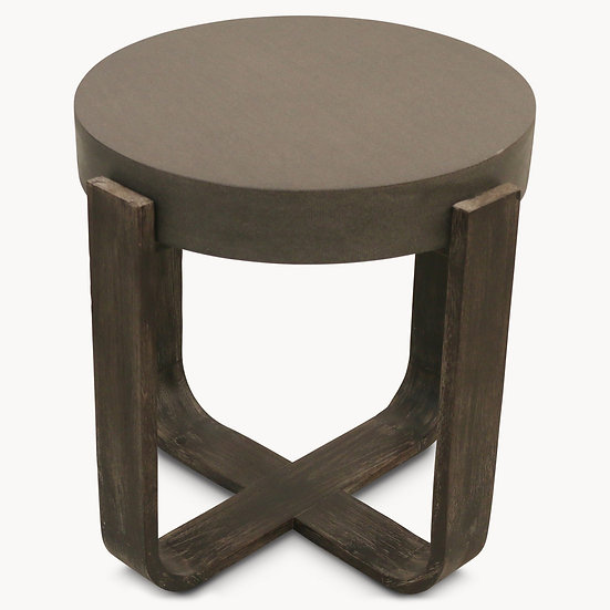 MALVERN LAVA STONE AND WOOD ROUND SIDE TABLE