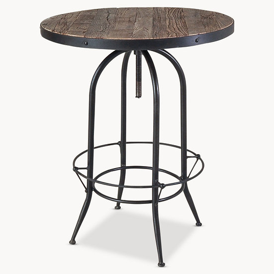 WOODCROFT IRON AND ELM BAR TABLE