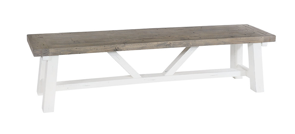 Kent White Painted Distressed Reclaimed Wood Dining Bench