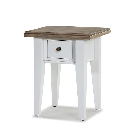 Ashmore Brushed White 1 Drawer Lamp Table