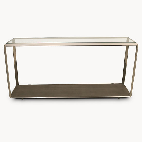 SEYMOUR STAINLESS STEEL AND SHAGREEN GLASS TOP CONSOLE