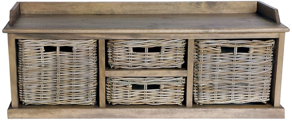 Maze Rattan Grey 2 Large and 2 Small Baskets Low Storage Unit
