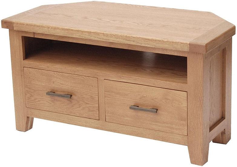 Hampshire Oak 2 Drawer Corner TV Unit