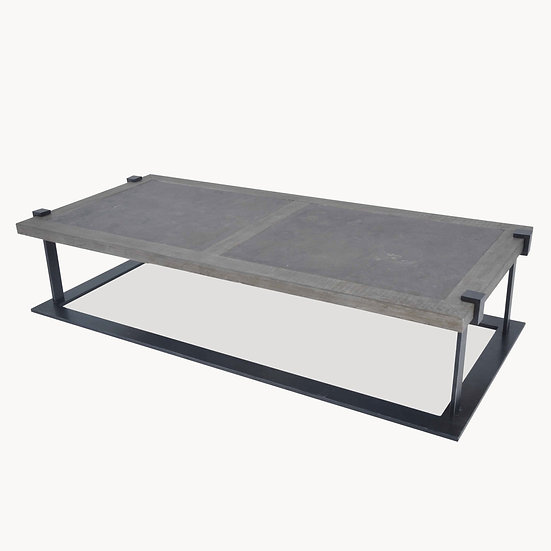 WOODCROFT OAK AND IRON COFFEE TABLE WITH STONE TOP