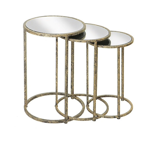 MIRROR TOP NEST OF TABLES (SET OF THREE)