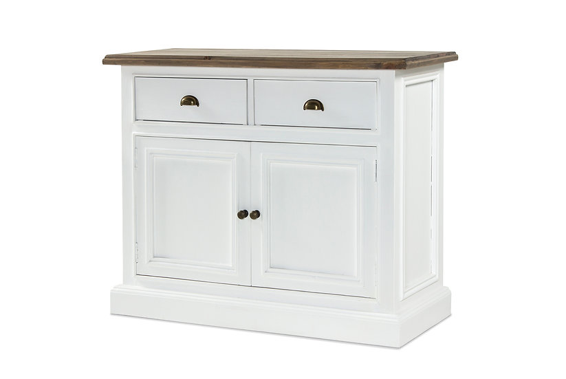 Ashmore Brushed White 2 Door 2 Drawer Narrow Sideboard