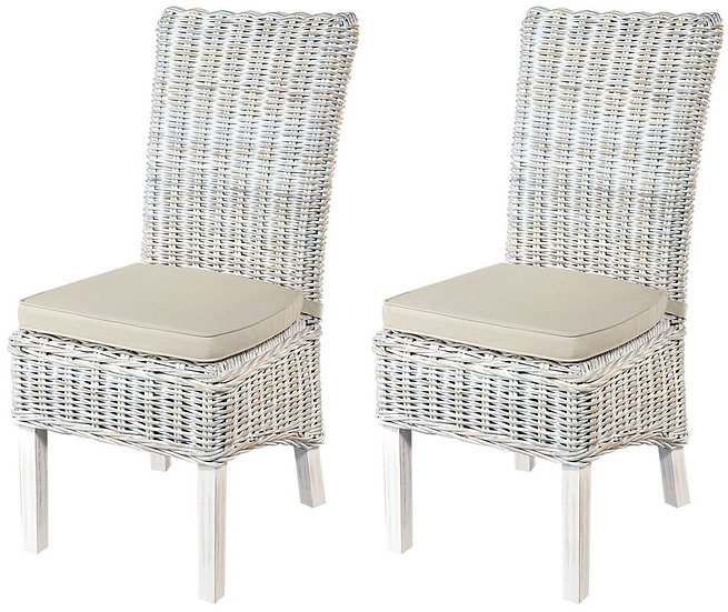 Maze White Dining Chair with Stone Loose Cushion (Pair)