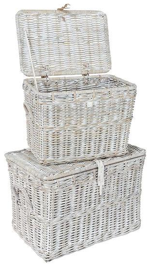 Maze Rattan White Double Log Basket