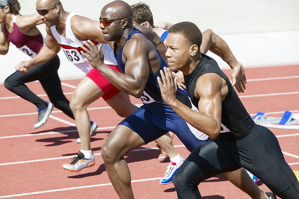 Side view of multiethnic male athletics