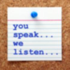 The words You Speak We Listen in blue te
