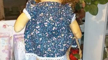 カントリードール 人形 ハンドメイド カーリーヘアの女の子 ブルーワンピース