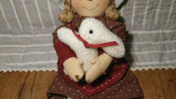 カントリードール ウサギを持った女の子ドール