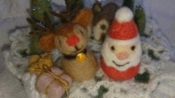 クリスマスオーナメント サンタ トナカイ 羊毛フェルト クリスマス
