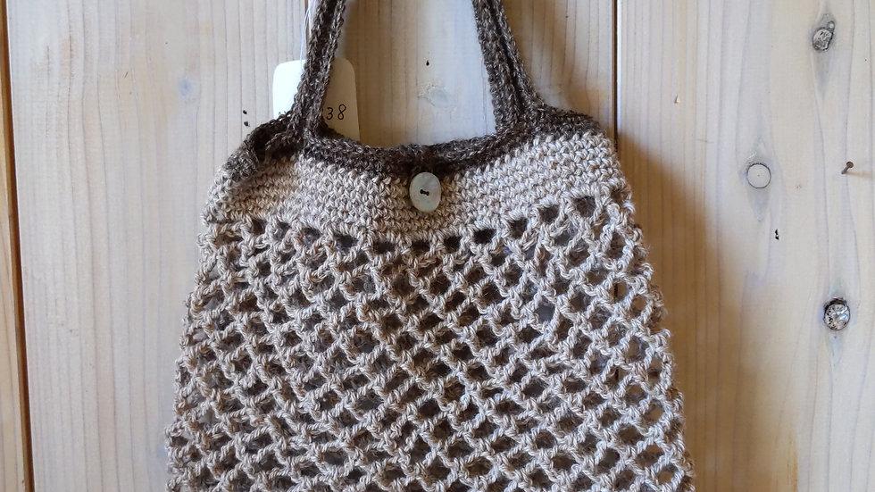 ネット編みバッグ  手提げ袋  手編み