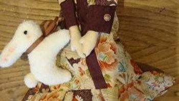 カントリードール ハンドメイド 人形 ちりめん生地のワンピースドール