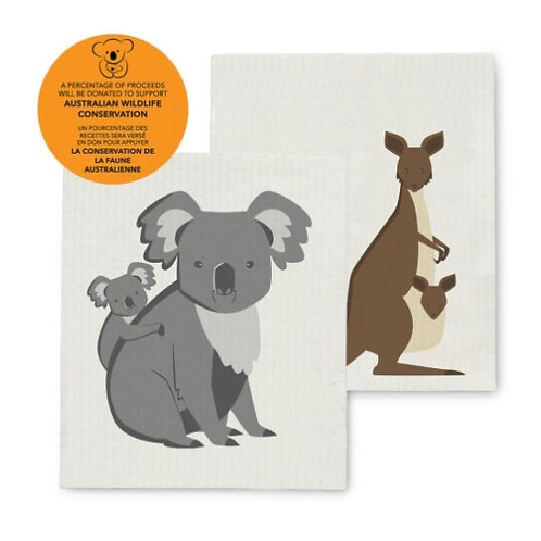 Koala & Kangaroo Dish cloths set of 2